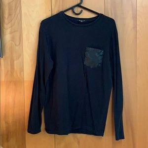 Forever 21 Long Sleeve T-Shirt Leather Pocket